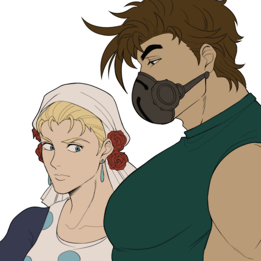 1boy 1girl battle_tendency breast_envy brown_hair bursting_pectorals catneylang from_side green_shirt highres jojo_no_kimyou_na_bouken joseph_joestar joseph_joestar_(young) large_pectorals looking_at_another looking_down male_cleavage mask meme muscle_envy muscular muscular_male pectoral_envy_(meme) pectoral_focus pectorals shirt short_hair sideburns sidepec sleeveless suzi_q upper_body