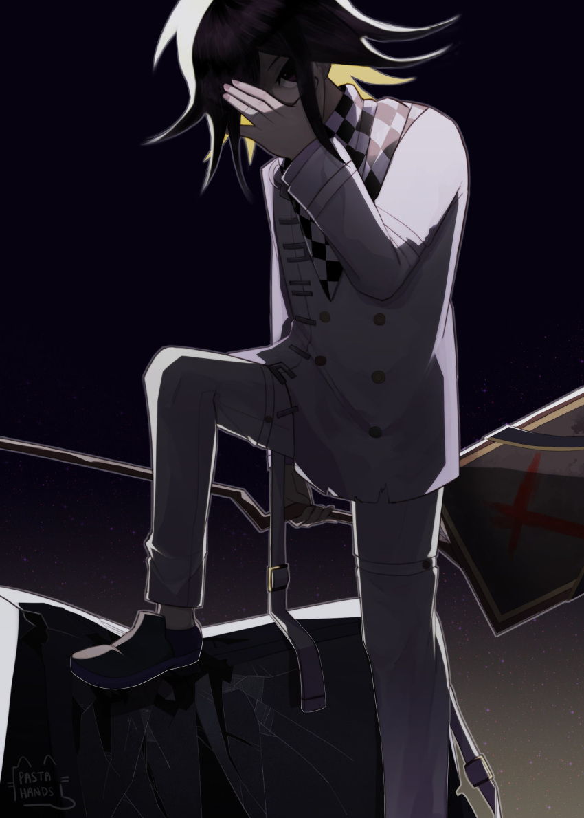 1boy absurdres ahoge bangs black_hair blonde_hair buttons checkered checkered_neckwear checkered_scarf covering_face covering_mouth covering_one_eye dangan_ronpa_(series) dangan_ronpa_v3:_killing_harmony english_commentary foot_out_of_frame foot_up grey_jacket grey_pants hair_between_eyes highres holding jacket long_sleeves looking_at_viewer male_focus multicolored_hair ouma_kokichi pants pastahands scarf shoes short_hair solo two-tone_hair violet_eyes