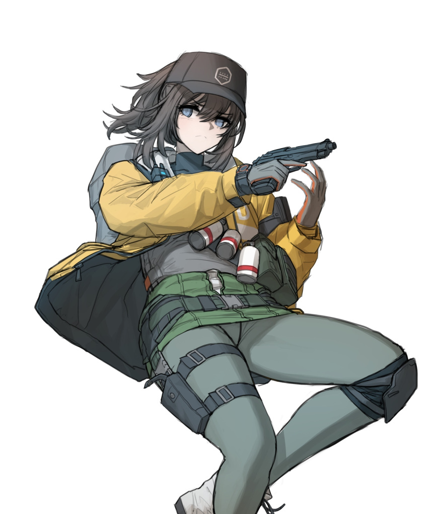 1girl absurdres baseball_cap belt black_legwear boots brown_hair cheogtanbyeong closed_mouth dier_(girls_frontline) dima_(girls_frontline) genderswap genderswap_(mtf) girls_frontline gloves green_shirt green_skirt grey_eyes gun handgun hat highres holding holding_weapon jacket long_hair miniskirt open_clothes open_jacket panties pantyhose pistol pouch shirt shoulder_strap skirt smoke_grenade solo tactical_clothes tom_clancy's_the_division underwear walkie-talkie watch weapon yellow_jacket