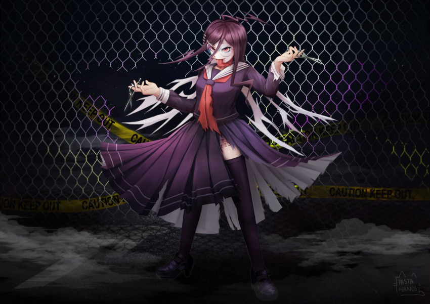 1girl ahoge arm_up artist_name bangs body_writing braid brown_eyes brown_hair caution chain-link_fence dangan_ronpa:_trigger_happy_havoc dangan_ronpa_(series) english_commentary fence fukawa_touko genocider_shou glasses hand_up highres holding holding_scissors long_hair long_sleeves long_tongue looking_at_viewer mole mole_under_mouth open_mouth pastahands purple_hair red_eyes round_eyewear school_uniform scissors serafuku shirt shoes skirt smile solo standing thigh-highs tongue tongue_out torn_clothes torn_shirt torn_skirt