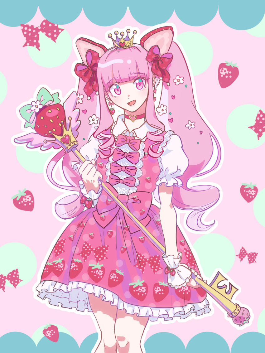 1girl absurdres bow choker crown earrings flower food food-themed_hair_ornament food_print frilled_skirt frilled_sleeves frills fruit gradient_eyes hair_flower hair_ornament hair_ribbon highres jewelry lolita_fashion magical_girl multicolored multicolored_eyes oregaihanboshi original pink_bow pink_eyes pink_hair red_ribbon ribbon skirt staff strawberry strawberry_hair_ornament strawberry_print sweet_lolita twintails wand wrist_cuffs