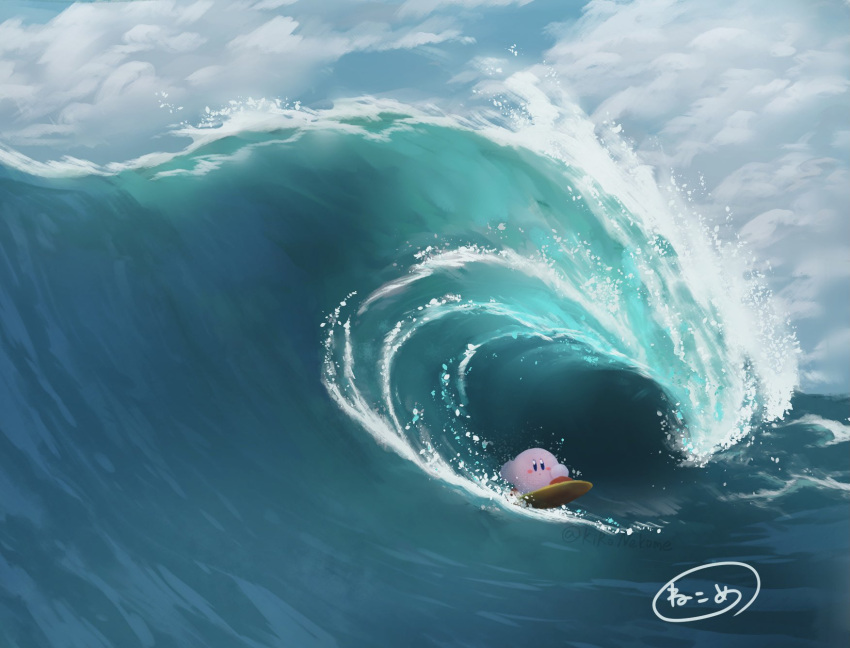 blue_sky blue_theme blush_stickers clouds commentary highres kirby kirby_(series) mizusuibo no_humans ocean signature sky solo surfboard surfing symbol_commentary water watermark waves