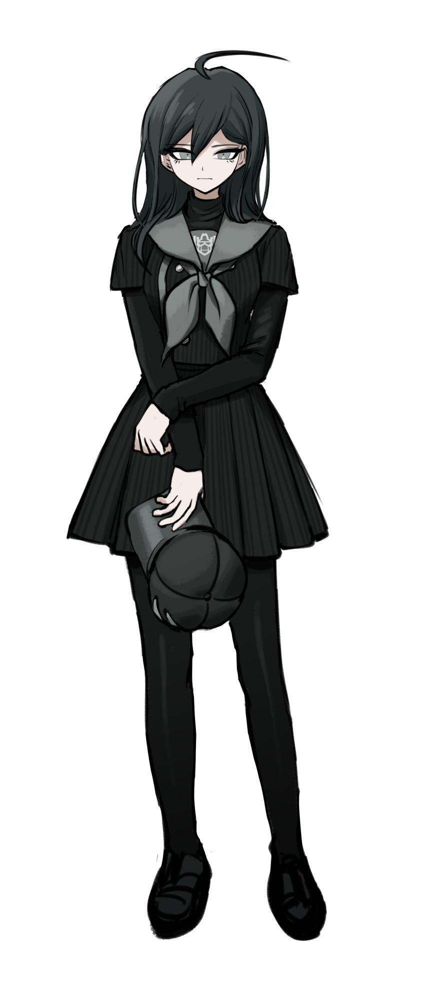 1girl absurdres ahoge bangs black_footwear black_hair black_jacket black_legwear black_skirt brown_eyes buttons dangan_ronpa_(series) dangan_ronpa_v3:_killing_harmony double-breasted full_body genderswap genderswap_(mtf) hair_between_eyes hat headwear_removed highres holding holding_clothes holding_hat jacket layered_sleeves long_hair long_sleeves looking_at_viewer no_(xpxz7347) pantyhose pleated_skirt saihara_shuuichi sailor_collar shoes short_over_long_sleeves short_sleeves skirt solo standing striped striped_jacket striped_skirt