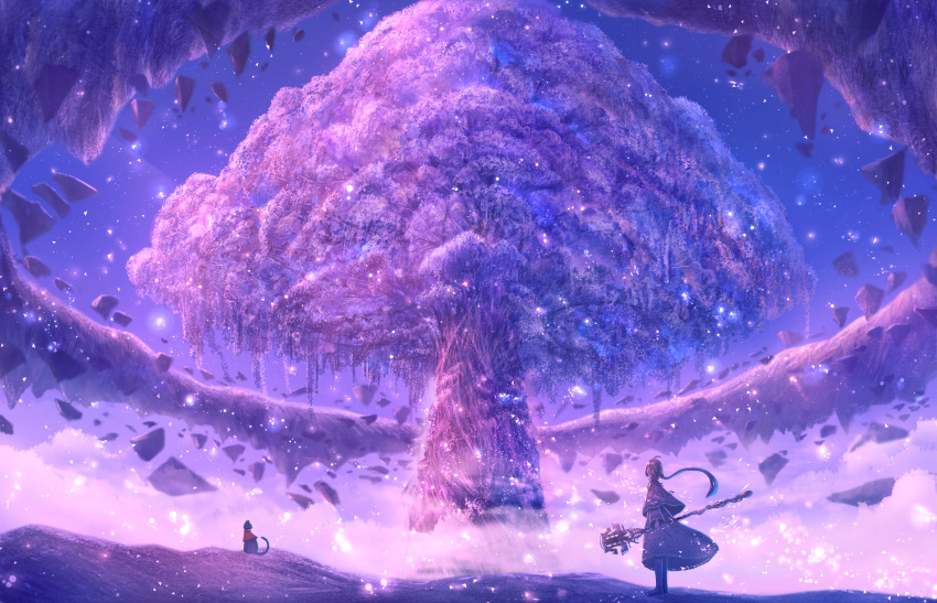 1girl ahoge black_cat capelet cat clouds commentary_request dress dust fantasy floating_rock full_body giant_tree gradient_sky highres holding holding_staff long_hair original outdoors ponytail purple_capelet purple_dress purple_sky purple_theme sakimori_(hououbds) scenery sky solo sparkle staff star_(sky) starry_sky tree