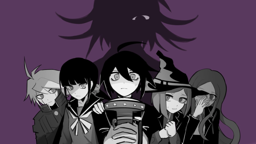 adjusting_eyewear ahoge bangs blunt_bangs clenched_hands closed_mouth collared_shirt dangan_ronpa_(series) dangan_ronpa_v3:_killing_harmony english_commentary glasses hair_ornament hair_scrunchie hand_on_another's_shoulder hand_up harukawa_maki hat highres holding jacket keebo long_sleeves looking_at_another low_twintails monochrome multiple_girls ouma_kokichi pastahands purple_background ribbon saihara_shuuichi sailor_collar scrunchie shirogane_tsumugi shirt short_hair simple_background twintails upper_body witch_hat yumeno_himiko