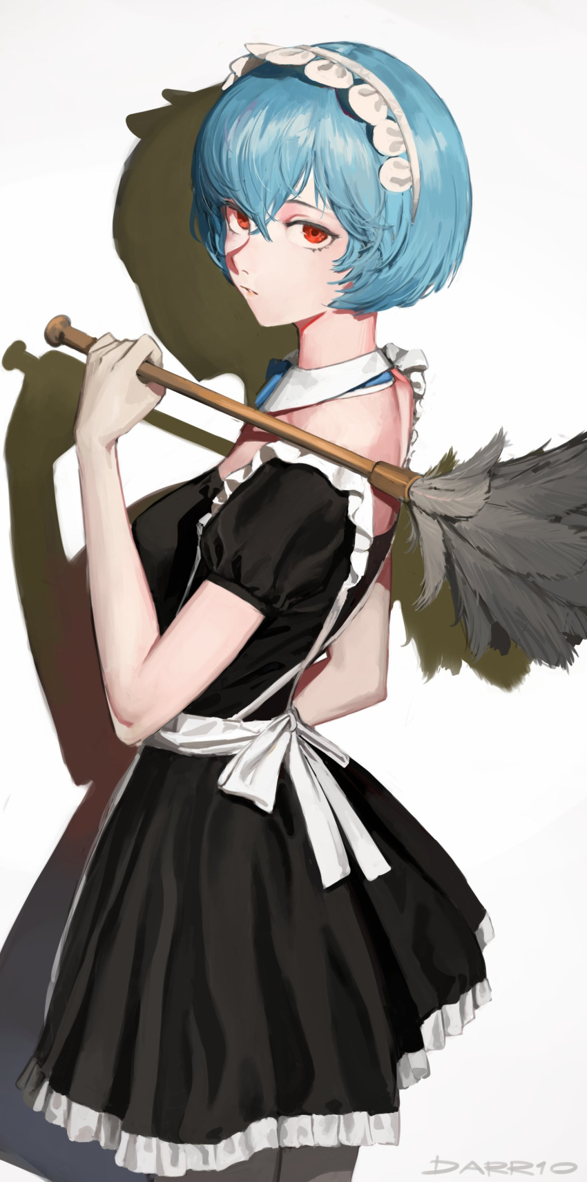 1girl absurdres alternate_costume apron ayanami_rei blue_hair bob_cut cowboy_shot darr1o detached_collar enmaided feather_duster frills from_behind hair_between_eyes highres holding looking_at_viewer looking_back maid maid_apron maid_headdress neon_genesis_evangelion parted_lips puffy_short_sleeves puffy_sleeves red_eyes shadow short_hair short_sleeves signature solo white_background