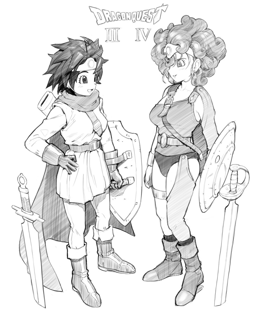 2girls belt blush bracer cape character_request circlet collarbone copyright_name dragon_quest dragon_quest_iii dragon_quest_iv earrings gloves greyscale hand_on_hip hatching_(texture) highres holding holding_shield jewelry looking_at_another lower_teeth making-of_available medium_hair monochrome multiple_girls omaru_gyuunyuu parted_lips planted planted_sword scabbard scratches sheath shield simple_background sketch smile standing stud_earrings sword teeth thigh_strap tongue unsheathed weapon white_background