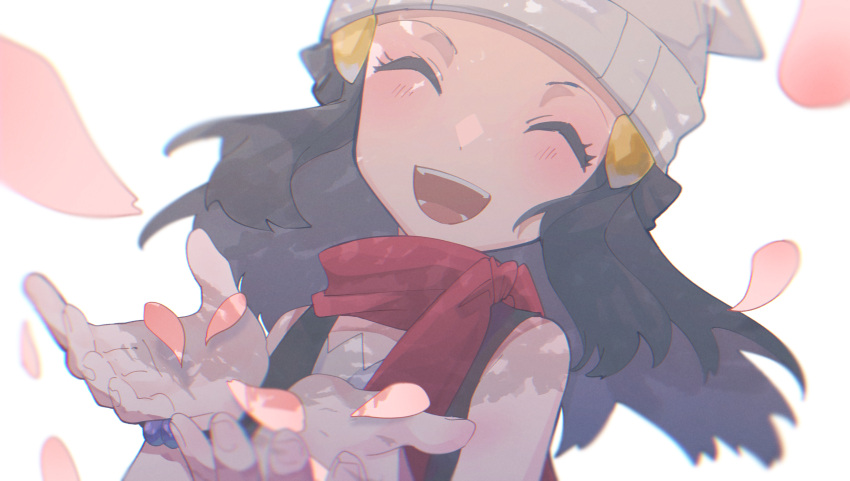 1girl absurdres asagiri_kogen beanie black_hair blush bracelet closed_eyes commentary dawn_(pokemon) eyelashes floating_hair hair_ornament hairclip hands_up happy hat highres jewelry open_mouth petals pokemon pokemon_(game) pokemon_dppt red_scarf scarf simple_background sleeveless smile solo teeth tongue upper_body white_background white_headwear |d