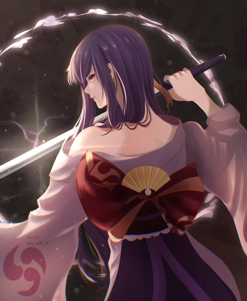 1girl bangs bare_shoulders commentary english_commentary from_behind genshin_impact highres holding holding_sword holding_weapon japanese_clothes katana kimono leu_sile light_particles long_hair long_sleeves looking_at_viewer looking_back mitsudomoe_(shape) purple_hair raiden_(genshin_impact) sword symbol_commentary tomoe_(symbol) violet_eyes weapon wide_sleeves