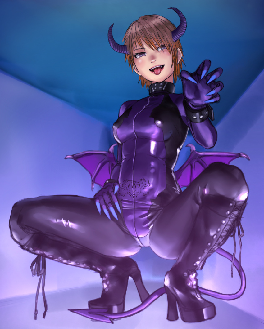 1girl :d arm_belt black_footwear blue_nails blush bodysuit boots breasts brown_eyes brown_hair covered_nipples demon_girl demon_horns demon_tail demon_wings fingernails gloves high_heel_boots high_heels highres horns kilye_kairi latex_bodysuit looking_at_viewer low_wings medium_breasts mini_wings nail_polish open_mouth original purple_bodysuit sharp_fingernails short_hair smile solo spread_legs squatting tail tongue tongue_out wings