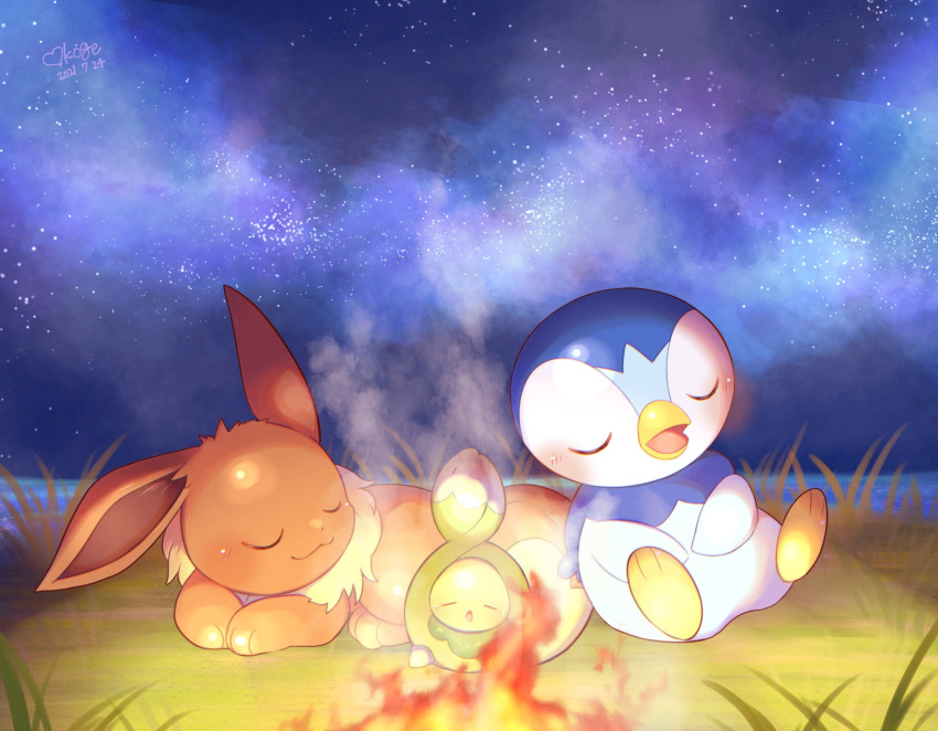 :3 blush budew closed_eyes closed_mouth commentary_request dated eevee fire gen_1_pokemon gen_4_pokemon grass heart highres lying night no_humans okoge_(simokaji) on_stomach open_mouth outdoors piplup pokemon pokemon_(creature) signature sky sleeping smile smoke star_(sky) starter_pokemon tongue