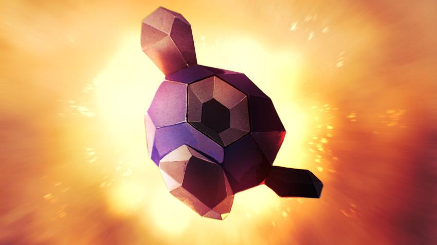 absurdres blurry commentary full_body gen_5_pokemon geode hexagon higa-tsubasa highres leg_up no_humans pokemon pokemon_(creature) rock roggenrola solo