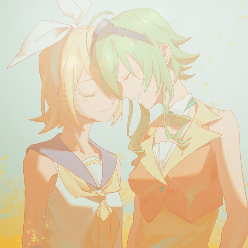 2girls bare_shoulders belt blonde_hair bow closed_eyes collar collarbone collared_shirt commentary forehead-to-forehead goggles goggles_on_head green_hair grey_collar gumi hair_bow highres kagamine_rin light_blush multiple_girls neckerchief open_mouth orange_shirt sailor_collar school_uniform shirt short_hair sidelocks sleeveless sleeveless_shirt smile standing upper_body vocaloid white_bow white_shirt wounds404 yellow_neckwear yuri
