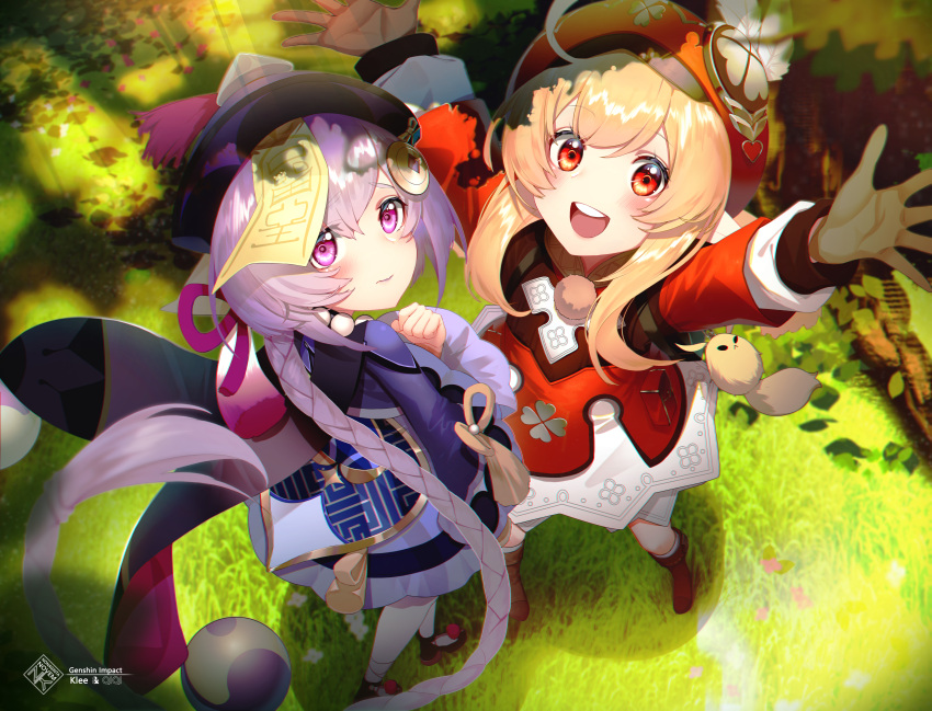 2girls :d absurdres ahoge arms_up backpack bag bag_charm bandaged_leg bandages bangs bead_necklace beads bloomers blurry boots braid brown_footwear brown_gloves brown_scarf cabbie_hat cape charm_(object) clover_print coat coin_hair_ornament commentary_request depth_of_field dodoco_(genshin_impact) eyebrows_visible_through_hair from_above genshin_impact gloves grass hair_between_eyes hat hat_feather hat_ornament highres huge_filesize jewelry jiangshi klee_(genshin_impact) knee_boots kneehighs light_brown_hair long_hair long_sleeves looking_at_viewer looking_up low_ponytail multiple_girls necklace nonaginta_novem ofuda open_mouth orange_eyes outstretched_arms pocket pointy_ears purple_hair qing_guanmao qiqi_(genshin_impact) randoseru red_coat scarf sidelocks single_braid smile spread_arms thigh-highs tree tree_shade underwear violet_eyes white_legwear zettai_ryouiki