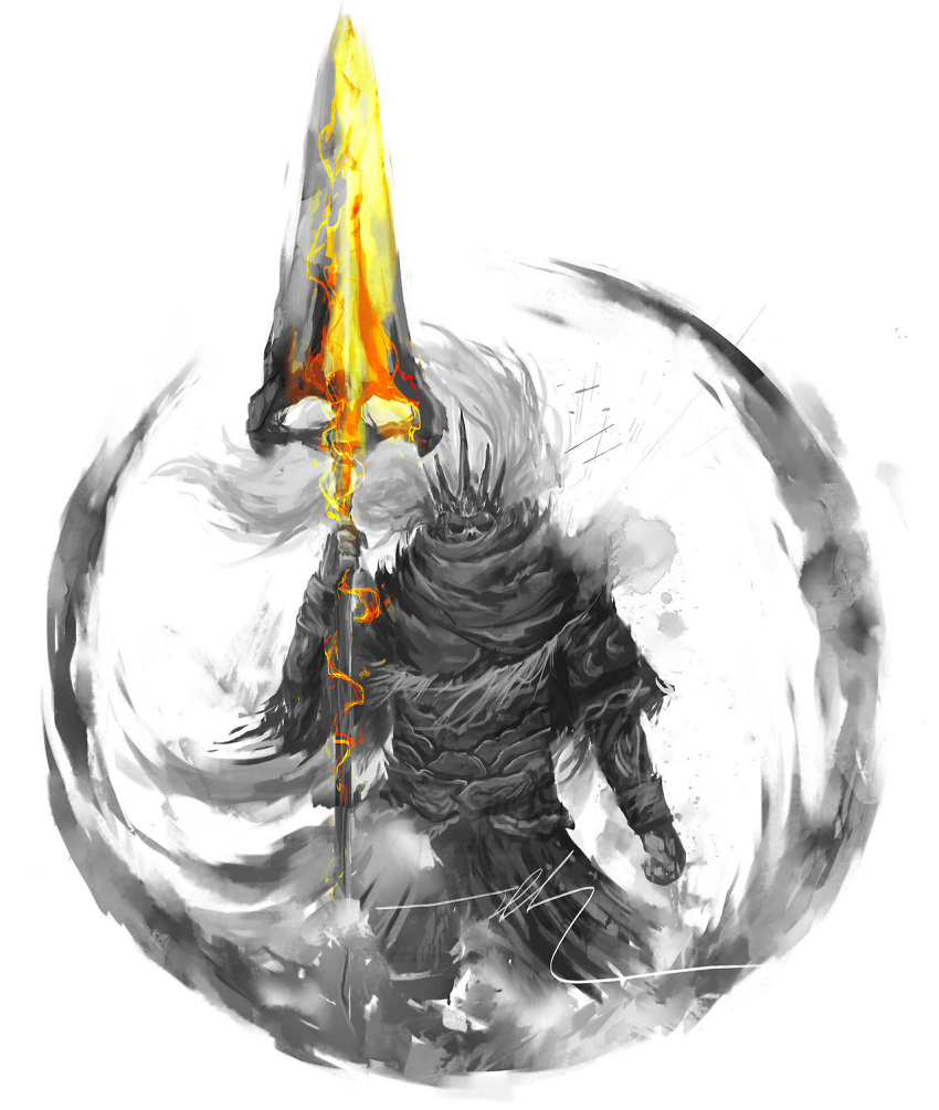 1boy armor crown dark_souls_iii highres holding holding_polearm holding_spear holding_weapon looking_at_viewer male_focus nameless_king polearm shimhaq solo souls_(series) spear weapon
