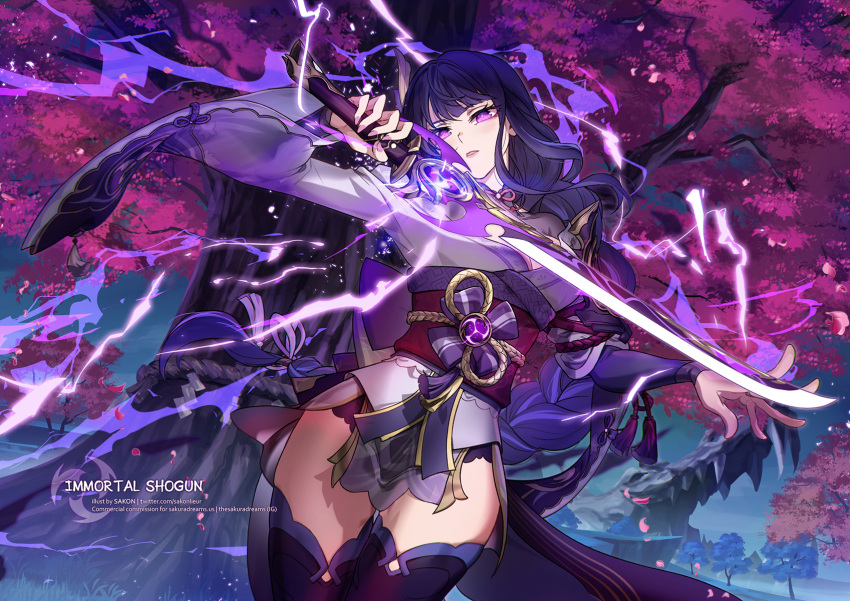 1girl cherry_blossoms commentary drawing_sword english_commentary flower genshin_impact hair_flower hair_ornament highres holding holding_sword holding_weapon japanese_clothes kimono mitsudomoe_(shape) mole mole_under_eye petals pink_flower purple_flower purple_hair raiden_(genshin_impact) sakon04 sash scenery solo sword thighs tomoe_(symbol) tree tree_branch violet_eyes vision_(genshin_impact) weapon