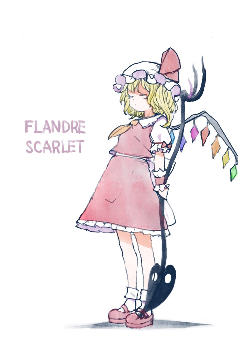 1girl bangs blonde_hair bobby_socks bow breasts character_name closed_eyes closed_mouth commentary_request cravat crystal flandre_scarlet frilled_shirt_collar frills full_body hat hat_ribbon highres holding holding_polearm holding_weapon laevatein mary_janes mob_cap one_side_up orange_neckwear polearm puffy_short_sleeves puffy_sleeves red_bow red_footwear red_ribbon red_skirt red_vest ribbon satyuas shoes short_hair short_sleeves skirt small_breasts socks solo standing touhou vest weapon white_headwear white_legwear wings wrist_cuffs
