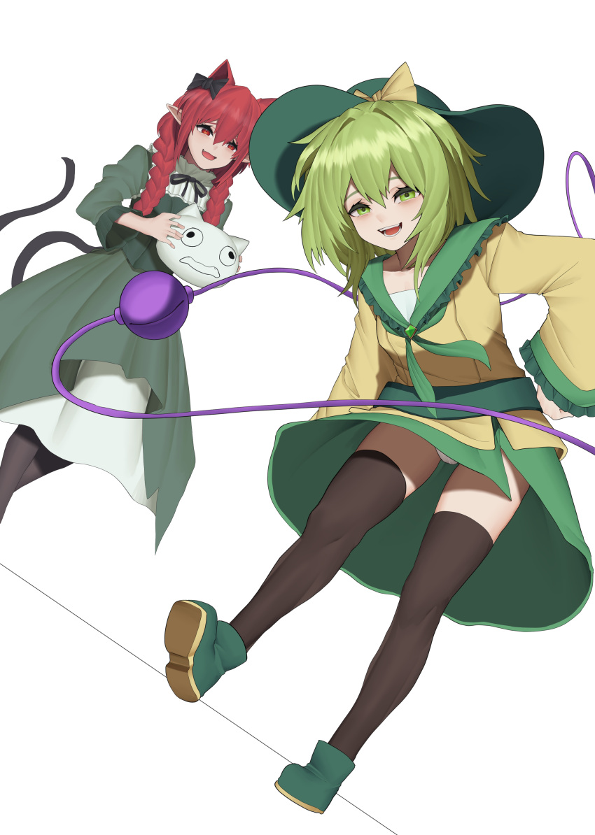 2girls \||/ absurdres animal_ears bangs black_bow black_headwear black_legwear blouse blush bobby36446329 bow braid breasts cat_ears cat_tail commentary_request dress dutch_angle extra_ears eyeball eyebrows_behind_hair fang frills full_body green_dress green_eyes green_hair green_skirt hair_between_eyes hair_bow hair_intakes hat hat_bow highres holding kaenbyou_rin komeiji_koishi long_hair long_sleeves looking_at_viewer medium_breasts multiple_girls multiple_tails neckerchief nekomata pointy_ears red_eyes redhead simple_background skirt tail thigh-highs third_eye touhou twin_braids twintails two_tails white_background wide_sleeves yellow_blouse yellow_bow