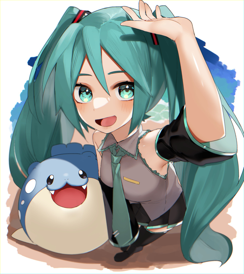 1girl :d arm_up bangs black_footwear black_skirt blush boots collared_shirt crossover detached_sleeves from_above gen_3_pokemon green_eyes green_hair green_neckwear grey_shirt hatsune_miku highres long_hair looking_at_viewer looking_up necktie open_mouth perspective pleated_skirt pokemon pokemon_(creature) reirou_(chokoonnpu) shiny shiny_skin shirt skirt sleeveless sleeveless_shirt smile spheal standing symbol_commentary thigh-highs thigh_boots tied_hair tongue twintails vocaloid