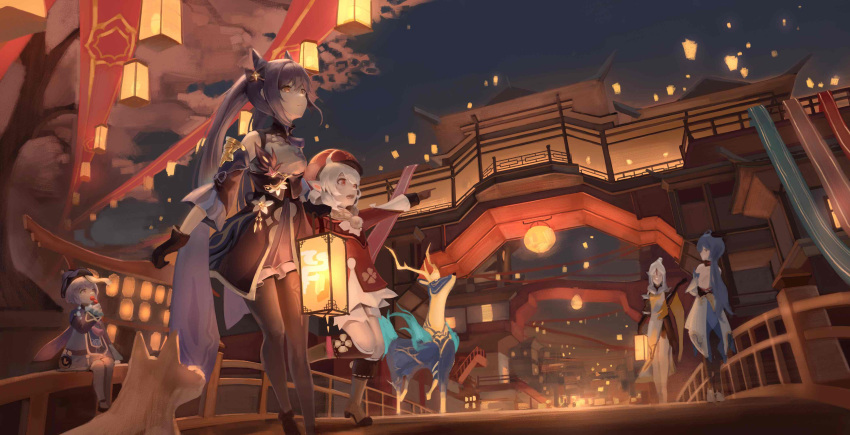 5girls :d absurdres architecture bangs bead_necklace beads black_legwear bloomers blue_hair bridge brown_gloves building cabbie_hat cape clover_print commentary_request deer detached_sleeves dog double_bun east_asian_architecture eyebrows_visible_through_hair festival floating ganyu_(genshin_impact) genshin_impact gloves hair_between_eyes hair_ornament hairpin hat highres holding holding_lantern horns jewelry jiangshi keqing_(genshin_impact) klee_(genshin_impact) lampion lantern light_brown_hair long_hair long_sleeves looking_up low_twintails multiple_girls necklace night night_sky ningguang_(genshin_impact) ofuda open_mouth orange_eyes pointing pointy_ears purple_hair qing_guanmao qiqi_(genshin_impact) river_(river_ga) scenery sidelocks sitting sky smile twintails underwear violet_eyes white_hair white_legwear