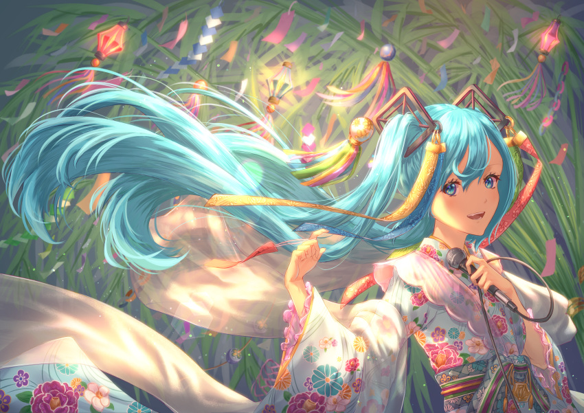 1girl :d absurdres bangs blue_eyes blue_hair fang floating_hair hair_between_eyes hair_ornament hatsune_miku highres holding holding_microphone huge_filesize long_hair long_sleeves looking_at_viewer microphone open_mouth sash shibayon00 shiny shiny_hair smile solo tanabata twintails upper_body very_long_hair wide_sleeves