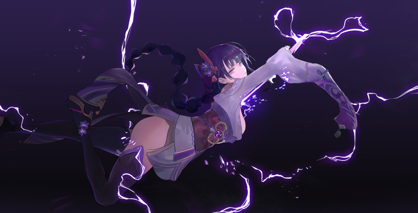 1girl bangs braid breasts closed_mouth commentary_request duplicate electricity energy_sword english_commentary flower from_side genshin_impact hair_flower hair_ornament high_heels highres holding holding_sword holding_weapon japanese_clothes katana kimono koio long_hair looking_at_viewer mole mole_under_eye pixel-perfect_duplicate purple_flower purple_hair raiden_(genshin_impact) sash simple_background solo sword tassel thigh-highs violet_eyes vision_(genshin_impact) weapon
