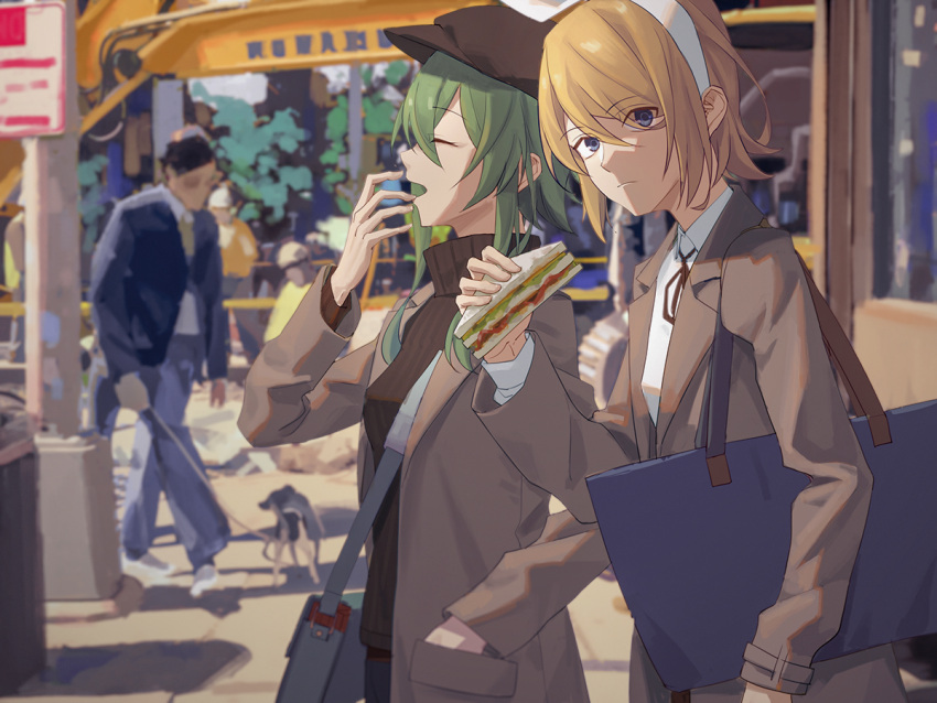2girls bag black_headwear blonde_hair blue_eyes bow brown_coat cabbie_hat closed_eyes coat commentary covering_mouth dog expressionless food green_hair gumi hair_bow hand_in_pocket hat holding holding_food kagamine_rin looking_at_viewer multiple_girls outdoors sandwich shirt short_hair shoulder_bag sidelocks signpost urban vocaloid white_bow white_shirt wounds404 yawning