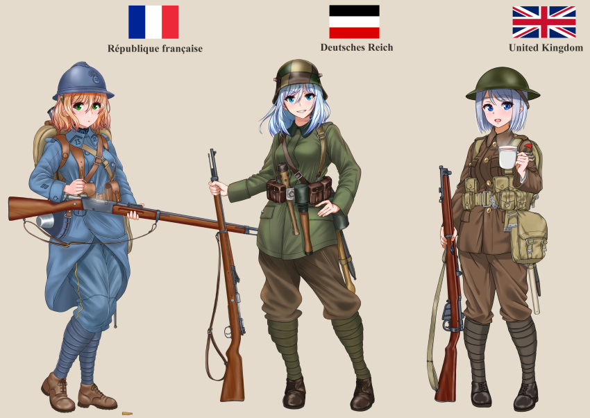3girls absurdres ammunition_pouch ankle_boots backpack bag belt_buckle blonde_hair blue_eyes blue_hair bob_cut bolt_action boots buckle canteen club coffee_mug commentary cup entrenching_tool explosive french_flag green_eyes grenade gun helemet highres imperial_german_flag lebel_model_1886 lee-enfield load_bearing_equipment long_hair looking_at_viewer mauser_98 medium_hair mess_kit military military_uniform mole mole_under_eye mug multiple_girls open_mouth original pouch purple_hair puttee rifle ryuukihei_rentai shell_casing simple_background sling soldier stick_grenade uniform union_jack violet_eyes weapon world_war_i