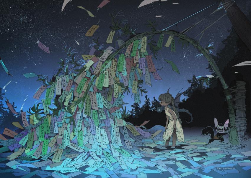 1girl 2others artist_name bamboo commentary_request demizu_posuka dress highres multiple_others night original outdoors sleeveless sleeveless_dress star_(sky) tanabata tanzaku