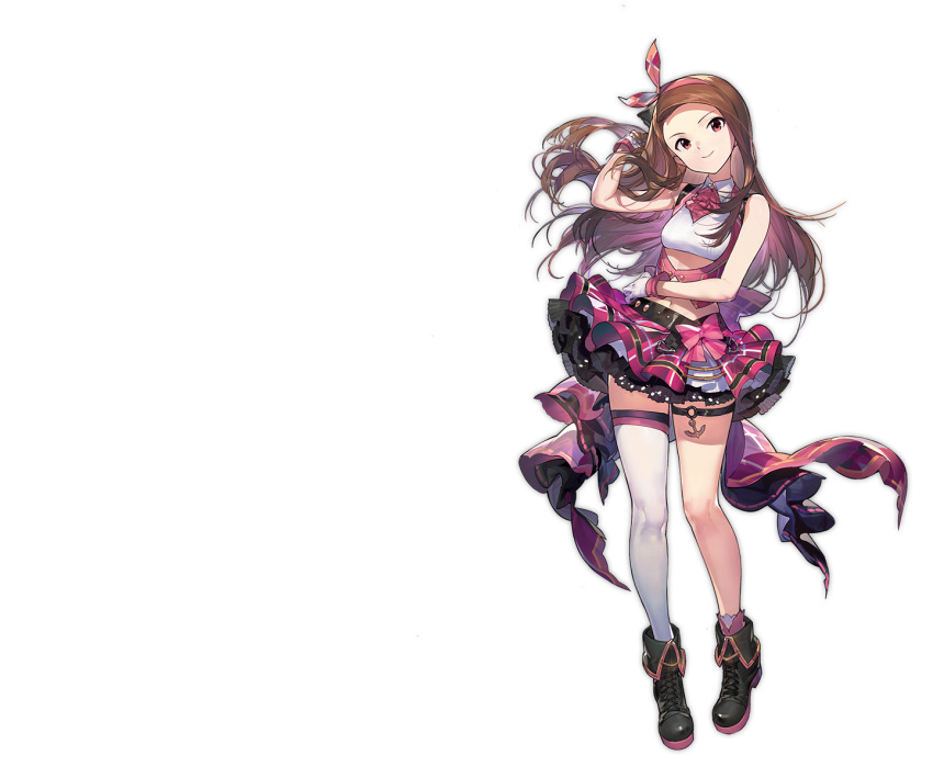 1girl artist_request azur_lane brown_hair closed_eyes full_body idolmaster idolmaster_(classic) long_hair looking_at_viewer minase_iori official_art one_eye_closed open_mouth pink_skirt plaid plaid_skirt single_thighhigh skirt smile solo thigh-highs transparent_background violet_eyes white_legwear