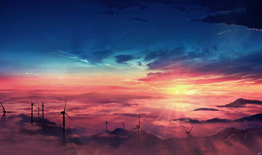 chinese_commentary clouds colorful commentary dark fog highres horizon landscape light_rays mountainous_horizon no_humans original scenery sky skyrick9413 sunlight sunset tower twilight windmill