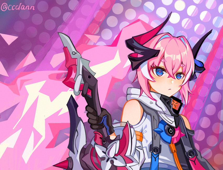 1girl :/ absurdres bangs black_gloves black_horns black_jacket blue_eyes ccclann closed_mouth clothing_cutout commentary_request expressionless eyebrows_visible_through_hair gloves hair_between_eyes hair_intakes highres holding holding_weapon honkai_(series) honkai_impact_3rd horns huge_filesize jacket long_hair pink_hair pink_pupils polka_dot polka_dot_background power_symbol purple_background rozaliya_olenyeva rozaliya_olenyeva_(fervent_tempo) shoulder_cutout solo sword thick_eyebrows twitter_username weapon white_jacket