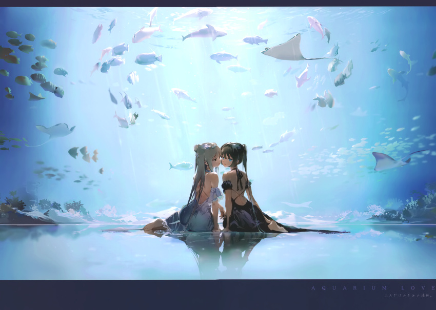 2girls absurdres animal anmi aquarium bangs bare_shoulders barefoot black_dress black_hair blue_eyes coral detached_sleeves dress fish full_body hair_bun highres huge_filesize long_hair looking_at_viewer looking_back manta_ray multiple_girls original parted_lips ponytail reflection reflective_floor scan short_sleeves simple_background sitting sleeveless tied_hair water white_dress