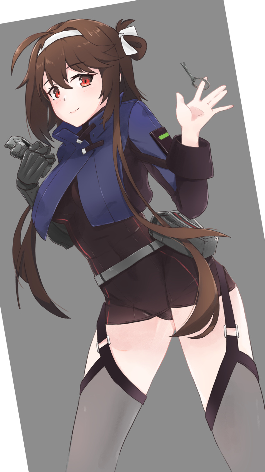 1girl \||/ absurdres ahoge asymmetrical_sleeves belt_pouch black_gloves black_leotard blue_jacket breasts brown_hair contrapposto cowboy_shot cropped_jacket dutch_angle explosive eyelashes folded_hair garter_straps girls_frontline gloves grenade grenade_pin grey_background grey_legwear hair_ribbon hands_up highres holding_grenade jacket large_breasts leotard light_smile looking_at_viewer mechanical_arms nabiyan navel pouch red_eyes ribbon short_hair_with_long_locks simple_background single_mechanical_arm solo thigh-highs thighs tied_hair type_79_(girls_frontline) white_ribbon
