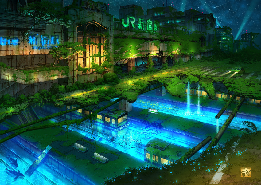 abandoned animal building dolphin fish glowing ground_vehicle highres night night_sky no_humans original outdoors overgrown pipes railroad_tracks ruins scenery sign sky stairs star_(sky) starry_sky tokyogenso train water waterfall window