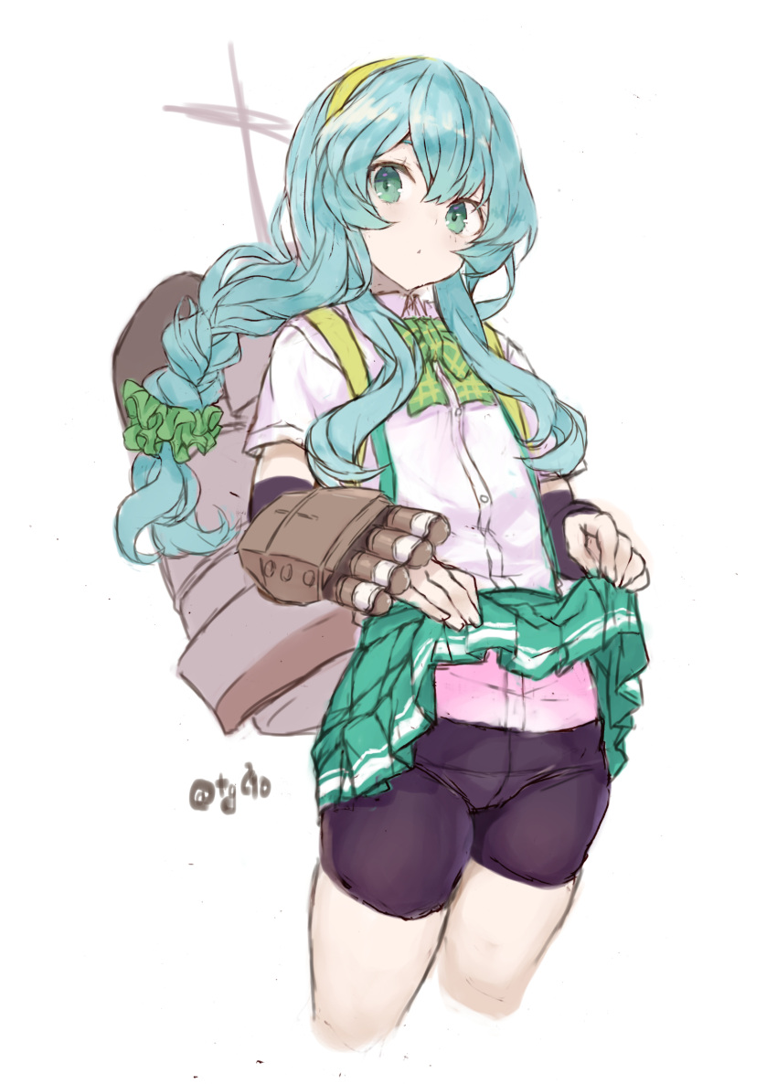 1girl aqua_hair arm_warmers bangs bike_shorts braid closed_mouth clothes_lift cropped_legs green_eyes green_hairband green_skirt hair_ornament hair_scrunchie hairband highres kantai_collection lifted_by_self long_hair one-hour_drawing_challenge rigging ryo_(tg290) scrunchie shirt short_sleeves shorts shorts_under_skirt sidelocks signature simple_background single_braid skirt skirt_lift solo white_background white_shirt yamagumo_(kancolle)