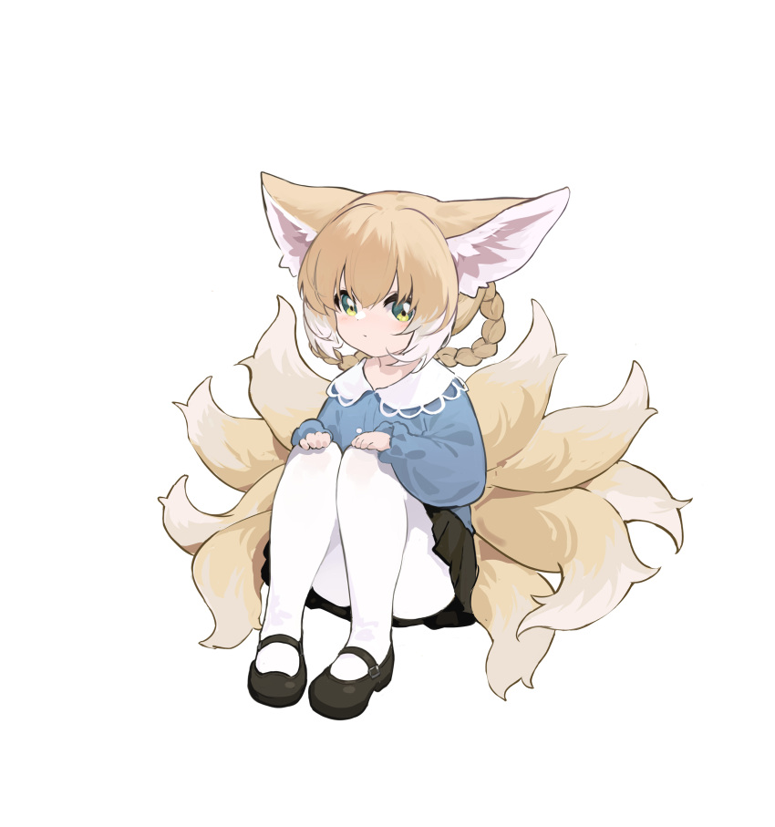 1girl absurdres animal_ears arknights bangs black_footwear black_skirt blue_shirt braid closed_mouth collared_shirt commentary_request dress_shirt fox_ears fox_girl fox_tail full_body green_eyes hair_between_eyes hair_rings highres knees_up kyuubi light_brown_hair long_sleeves looking_at_viewer multicolored_hair multiple_tails pantyhose pleated_skirt puffy_long_sleeves puffy_sleeves shio_(7203802) shirt shoes simple_background sitting skirt sleeves_past_wrists solo suzuran_(arknights) tail twin_braids two-tone_hair white_background white_hair white_legwear