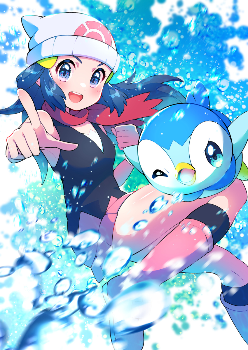 1girl :d absurdres beanie black_legwear blue_eyes blue_hair blurry blush boots bubble_(pokemon) bubble_beam_(pokemon) clenched_hand commentary dawn_(pokemon) eyelashes floating_hair floating_scarf gen_4_pokemon hair_ornament hairclip hat highres long_hair looking_at_viewer open_mouth pink_footwear piplup pointing pokemon pokemon_(anime) pokemon_(creature) pokemon_dppt_(anime) pon_yui red_scarf scarf shiny shiny_skin sleeveless smile socks starter_pokemon tongue upper_teeth water water_drop white_headwear