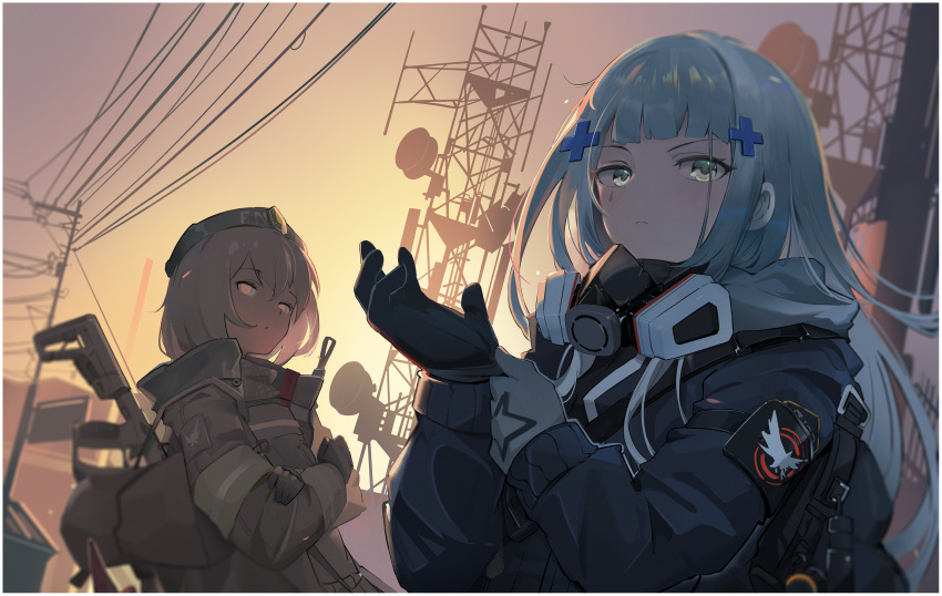 2girls adjusting_clothes adjusting_gloves agent_416_(girls_frontline) armband asymmetrical_gloves bangs black_gloves black_jacket blue_eyes blue_hair blurry blurry_background brown_coat character_request closed_mouth coat commentary crossed_arms dusk dutch_angle eyebrows_visible_through_hair frown girls_frontline gloves grey_gloves grey_hair gun hair_ornament highres hk416_(girls_frontline) jacket long_hair long_sleeves looking_at_viewer mask mask_around_neck mismatched_gloves multiple_girls outdoors power_lines satellite_dish short_hair siguma_(13238772100) sunset transmission_tower upper_body utility_pole weapon weapon_on_back weapon_request x_hair_ornament