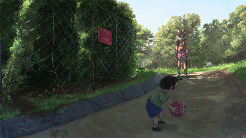 1girl 1other animal_ears arms_at_sides artist_logo ball bandaid black_hair broken broken_fence brown_hair chain-link_fence child dappled_sunlight day fence full_body fur_collar height_difference highres holding holding_ball imnim_leef japanese_wolf_(kemono_friends) kemono_friends leaning_forward long_hair long_sleeves looking_at_another multicolored_hair necktie outdoors shirt short_hair shorts sign skirt standing sunlight tail thigh-highs two-tone_hair white_hair wolf_ears wolf_girl wolf_tail zettai_ryouiki