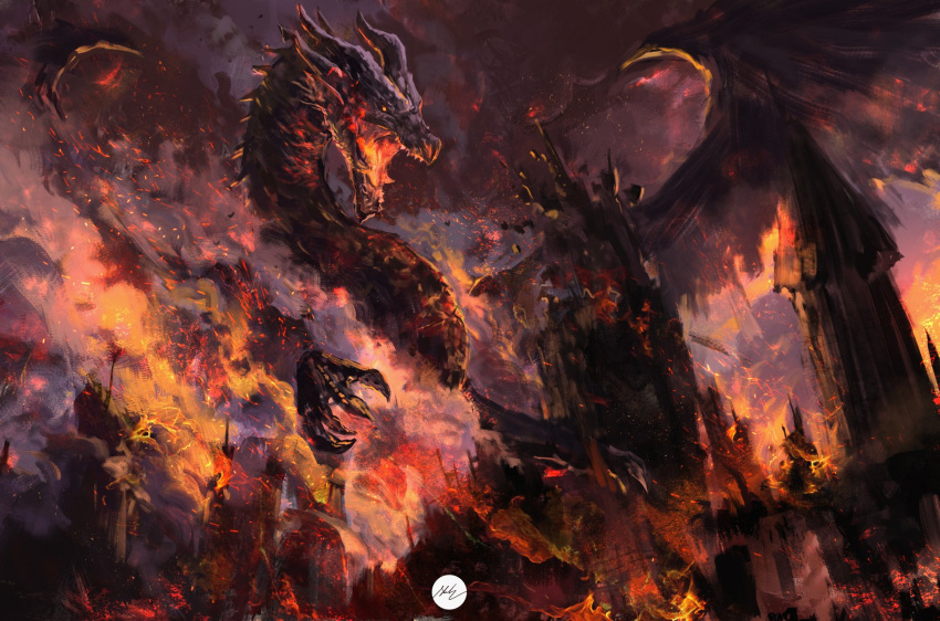 commentary dragon english_commentary fatalis fire highres monochrome monster monster_hunter:_world monster_hunter_(series) monster_hunter_world:_iceborne open_mouth red_theme shimhaq signature spread_wings