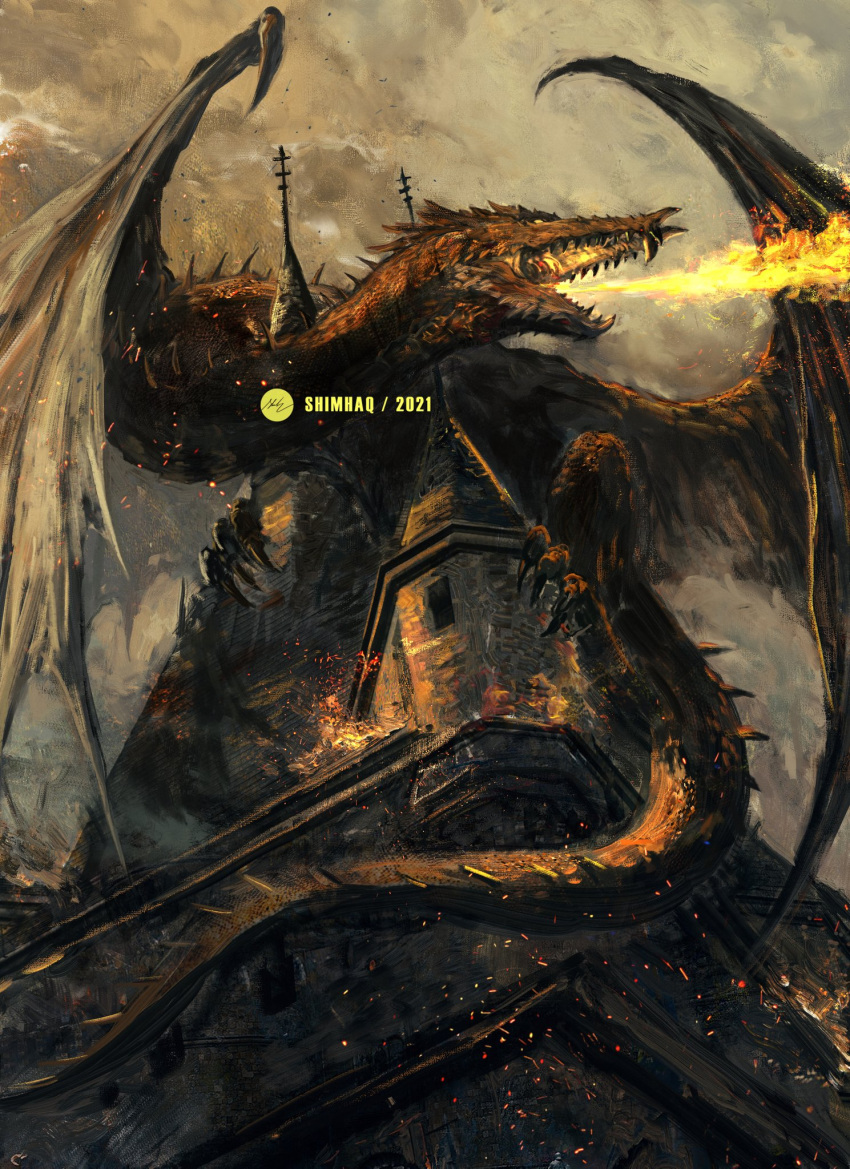 berserk breathing_fire castle dated fire highres open_mouth orange_theme shimhaq signature wings