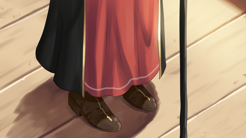 1girl brown_footwear cane dorianpanda highres hololive houshou_marine long_skirt lower_body red_skirt shadow shoes skirt solo virtual_youtuber wooden_floor