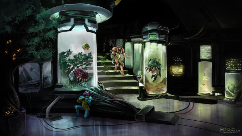 arm_cannon broken_glass cable fish fusion_suit glass heather_wright hiding hologram hornoad laboratory metroid metroid_(creature) metroid_fusion sa-x samus_aran tree varia_suit vat weapon