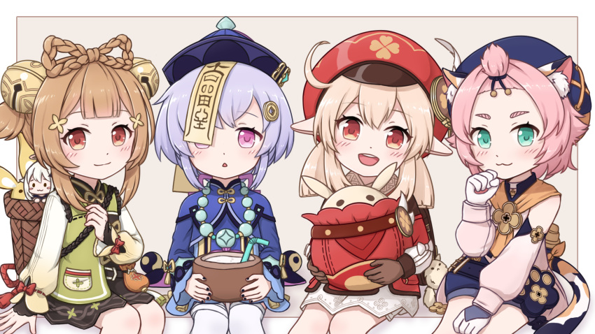 5girls :3 :d ahoge animal_ears backpack bag bag_charm bandaged_leg bandages bangs bangs_pinned_back bead_necklace beads bell black_nails black_shorts bloomers bottle bow bowtie braid brown_eyes brown_gloves brown_hair brown_scarf cabbie_hat cat_ears cat_girl cat_tail charm_(object) chinese_clothes clover_print coat coconut coin_hair_ornament commentary_request detached_sleeves diona_(genshin_impact) dodoco_(genshin_impact) drinking_straw eyebrows_visible_through_hair genshin_impact gloves hair_between_eyes hair_ribbon hat hat_feather hat_ornament highres jewelry jiangshi jumpy_dumpty kagamine_ran klee_(genshin_impact) light_brown_hair long_hair looking_at_viewer low_ponytail low_twintails mechanical_halo multiple_girls necklace ofuda open_mouth orange_eyes orb paimon_(genshin_impact) paw_pose paw_print paw_print_palms pocket pointy_ears purple_hair qing_guanmao qiqi_(genshin_impact) randoseru red_coat red_headwear ribbon scarf short_hair shorts sidelocks simple_background single_braid sitting smile tail thigh-highs twintails underwear violet_eyes white_legwear yaoyao_(genshin_impact) yin_yang yin_yang_orb zettai_ryouiki