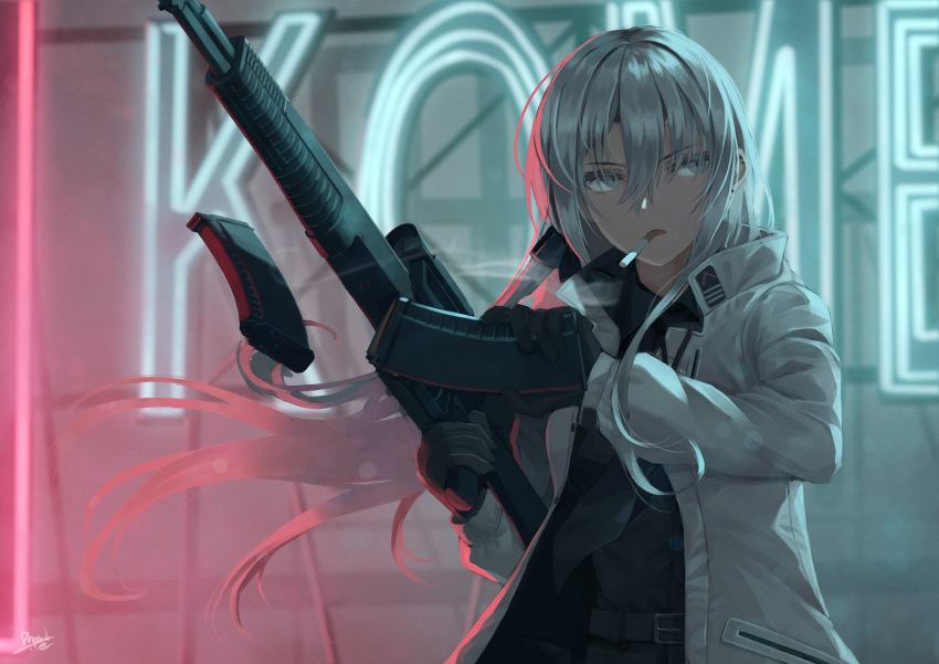 1girl artist_name assault_rifle belt black_gloves black_neckwear black_shorts blurry blurry_foreground borrowed_character cigarette coat commentary dreadtie gloves grey_eyes grey_hair gun half-closed_eyes highres holding holding_gun holding_magazine_(weapon) holding_weapon long_sleeves magazine_(weapon) mouth_hold necktie neon_lights night open_clothes open_coat original rifle shorts signature smoke smoking solo weapon white_coat zoya_petrovna_vecheslova