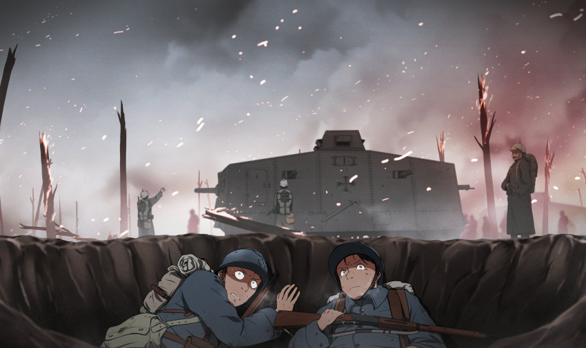 2boys a7v_(tank) absurdres backpack bag blurry blurry_background closed_mouth commentary constricted_pupils depth_of_field english_commentary fire frown grey_headwear grey_jacket grimace ground_vehicle gun helmet hiding highres holding holding_gun holding_weapon iron_cross jacket long_sleeves lying military military_vehicle motor_vehicle mrxinom multiple_boys multiple_others on_back original rifle scared standing sweat tank tree weapon