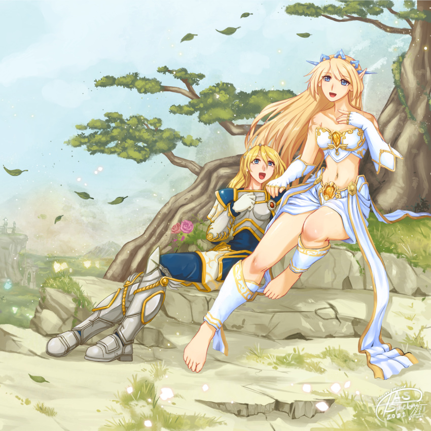 barefoot concept_art crossed_ankles crossed_legs feet forest highres janna janna_(league_of_legends) league_of_legends lux_(league_of_legends) nature sitting soles sphelon8565 star_guardian_(league_of_legends) star_guardian_janna thearchaiveus video_game