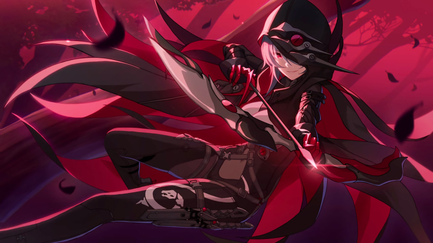 1girl aiming_at_viewer arrow_(symbol) bangs black_hoodie bow_(weapon) claws elbow_gloves forest gloves grey_hair hair_over_one_eye highres holding holding_bow_(weapon) holding_weapon honkai_(series) honkai_impact_3rd hood hoodie leaf long_sleeves looking_at_viewer nature official_art raven_(honkai_impact_3rd) red_eyes red_gloves red_skirt skirt smile solo teeth tree weapon
