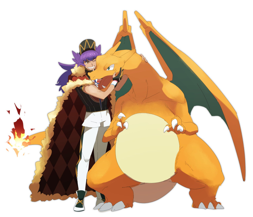 1boy argyle baseball_cap cape champion_uniform charizard claws commentary_request dark-skinned_male dark_skin dynamax_band facial_hair fangs fire flame fur-trimmed_cape fur_trim gen_1_pokemon gloves grin hat highres leggings leon_(pokemon) long_hair male_focus morio_(poke_orio) one_eye_closed open_mouth partially_fingerless_gloves petting pokemon pokemon_(creature) pokemon_(game) pokemon_swsh purple_hair red_cape shoes short_shorts short_sleeves shorts simple_background smile standing teeth tongue white_background white_legwear white_shorts yellow_eyes